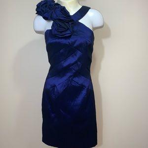 Ruffle Halter neck purple-blue mini dress